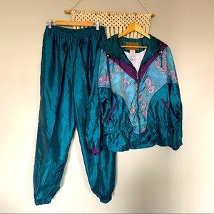 Vintage Nylon Teal & Purple Floral Track Suit